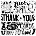 Unique thankful card with hand drawn lettering and calligraphy with many phrases and words. Vector illustration Royalty Free Stock Photo