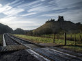 Unique time lapse stack landscape of castle medieval and railway tracks Royalty Free Stock Photography