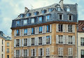 Unique traditional French windows and balconies Stock Images