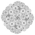 Unique vector mandala with flowers. Ornamental round floral zentangle for coloring book pages