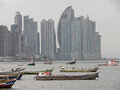 Unique view of panama s skyscrapers an the skyline and in front boats in the pacific ocean Stock Photography