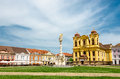 Unirii square in timisoara romania with roman catholic episcopal church background Royalty Free Stock Photography
