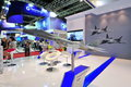 United aircraft corporation uac booth showcasing its prospective multi role fighter model at singapore airshow february Stock Photography