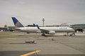 United airline airplane in newark airport new jersey usa Royalty Free Stock Photography