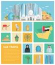 United Arab Emirates Decorative Icons Set Royalty Free Stock Photo