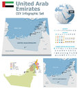United arab emirates maps with markers set of the political and symbols for infographic Royalty Free Stock Photography
