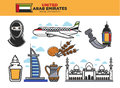 United Arab Emirates travel destination poster with country symbols Royalty Free Stock Photo