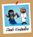 United arab emirates travel polaroid people arabic man and woman cartoon couple in vintage instant photo frame vector illustration Royalty Free Stock Photos