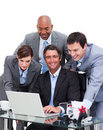 United business team working at a computer Stock Images