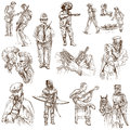 United colors of human race people all over the world collection no white collection an hand drawn illustrations description Royalty Free Stock Photo