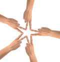 United hands isolated on white conceptual photo of teamwork Royalty Free Stock Images