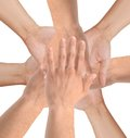United hands isolated on white conceptual photo of teamwork Royalty Free Stock Image