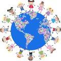 United kids around the globe Royalty Free Stock Photo