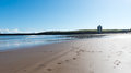United kingdom aberdeen beach with lighthouse in the background north of scotland Royalty Free Stock Images