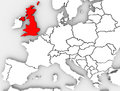 United kingdom england map northern europe great britain or or the highlighted in red on an abstracted illustrated d render of the Royalty Free Stock Photography