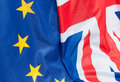 United kingdom and europe closeup of flags of great britain european union Stock Photography