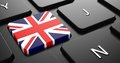 United kingdom flag on button of black keyboard computer Royalty Free Stock Images
