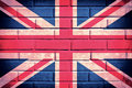 United kingdom flag of on the old brick wall Stock Photos