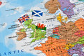 United kingdom map, flags of England, Scotland, Wales, brexit concept