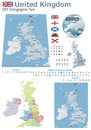 United kingdom maps with markers set of the political uk and symbols for infographic Stock Photos