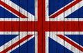 United Kingdom national flag on old wood background Royalty Free Stock Photo