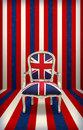 United kingdom throne british flag chair on grunge blue red and white background Stock Photos
