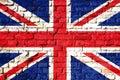 United Kingdom UK flag painted on a brick wall. Royalty Free Stock Photo