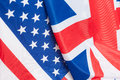 United kingdom and usa closeup of flags of great britain Royalty Free Stock Images