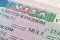 United kingdom visa in passport close up Royalty Free Stock Photos