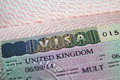 United Kingdom visa in passport Royalty Free Stock Photo