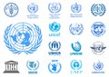 United Nations agencies logos Royalty Free Stock Photo