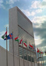 United Nations Building and Flags NYC USA Royalty Free Stock Photo