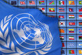 The united nations flag of on a background of international flags Royalty Free Stock Image