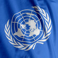 United Nations Flag Closeup Royalty Free Stock Photo