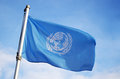 United Nations Flag Flying in Wind Royalty Free Stock Photo