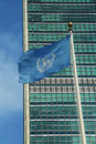 United Nations Flag in front of UN Headquarter in Royalty Free Stock Photo