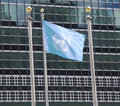 United Nations Flag in the front of UN Headquarter in New York Royalty Free Stock Photo