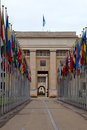 The united nations geneva switzerland flags in front of vertical image Royalty Free Stock Images