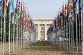 United nations in geneva view of the entrance to palace of and the gallery of the national flags switzerland photo taken Royalty Free Stock Photography