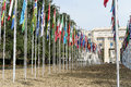 United nations in geneva view of the entrance to palace of and the gallery of the national flags switzerland photo taken Royalty Free Stock Photo