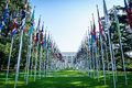 United nations in geneva view of the entrance to palace of and the gallery of the national flags switzerland photo taken Royalty Free Stock Photos
