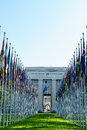 United nations in geneva view of the entrance to palace of and the gallery of the national flags switzerland photo taken Stock Photos