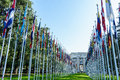 United nations in geneva view of the entrance to palace of and the gallery of the national flags switzerland photo taken Stock Image