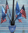 United nations and unitred states flags new york city march in the front of un headquarter in new york on march Stock Photography