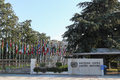 United nations view of the entrance to palace of and world flags in geneva switzerland photo taken on march Royalty Free Stock Photo