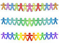 United people icons option or silhouettes in colors holding hands for strength with text Stock Photo