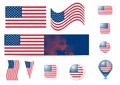 United States of America flag and buttons Royalty Free Stock Photography