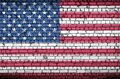 United States of America flag is painted onto an old brick wall Royalty Free Stock Photo