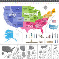 United States of America map colored by regions. Royalty Free Stock Photo