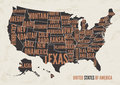 United States of America map print poster vintage design.